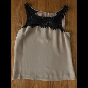 J Crew rose and black lace tank.